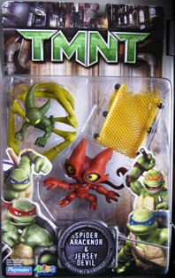 Spider Aracknor and Jersey Devil TMNT figures with yellow cart